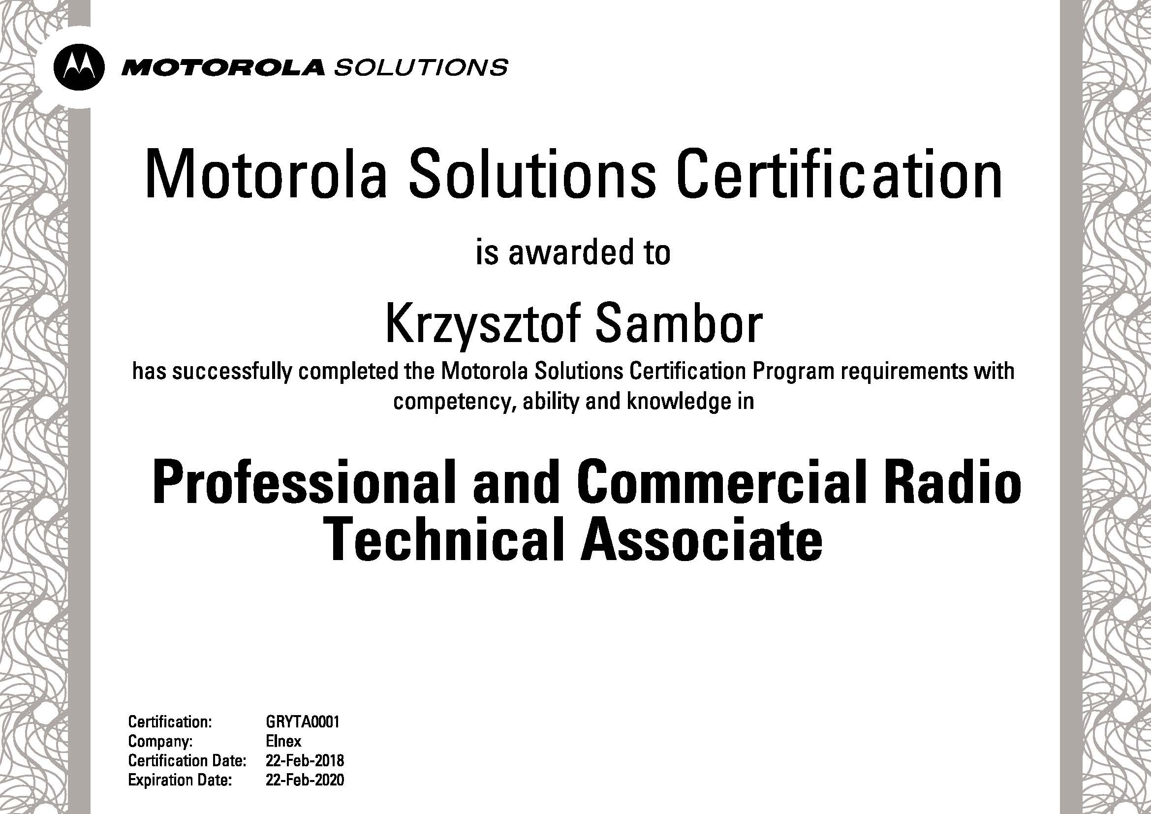 Certyfikat Motorola - PCR Technical Associate