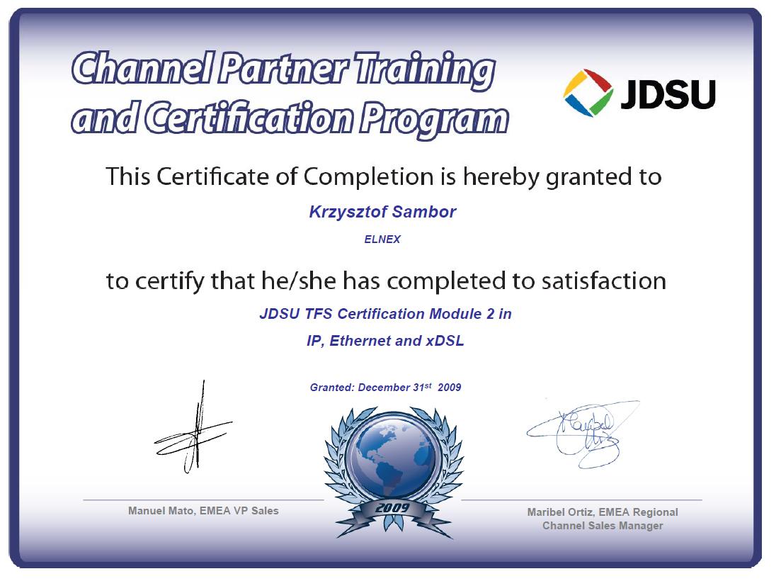 Certyfikat JDSU