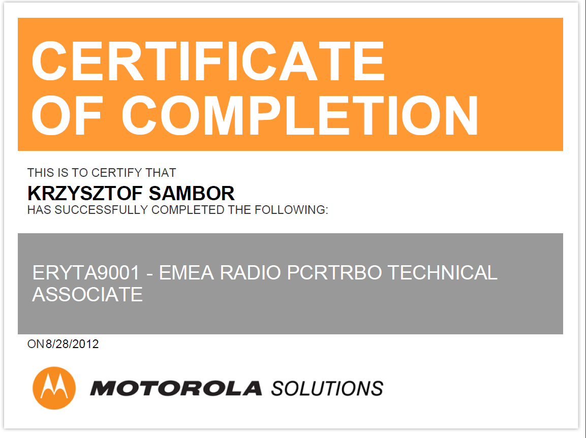 Certyfikat Motorola